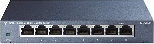 TP-Link 8 Port Gigabit Ethernet Network Switch   Ethernet Splitter   Sturdy Metal w/ Shielded Ports   Plug-and-Play   Traffic Optimization   Unmanaged (TL-SG108)