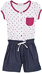 ToBeInStyle Girl\'s Polka Dot Rompers with Contrast Trim - Raspberry - 4T