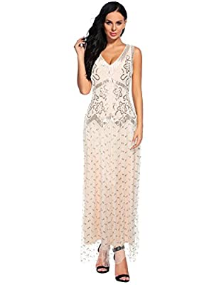 Flapper Girl Women's 1920s Beaded Sequin Maxi Long Evening Formal Party Dress Plus Size