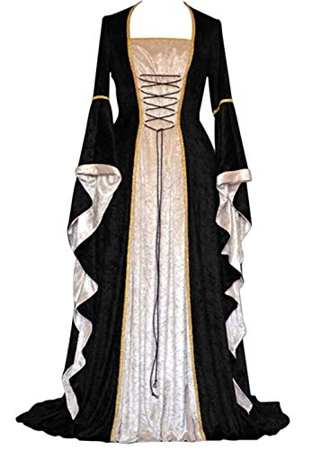 YEAXLUD Womens Renaissance Medieval Costume Dress Lace up Irish Over Long Dresses Cosplay Retro Gown S-5XL (L, Black)