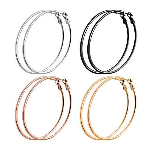 ❤4 Pairs Big Hoop Earrings Girls Women❤ SOITIS 60mm Hoop Earrings Stainless Steel Hypoallergenic 18K Gold Plated Rose Gold Plated Black Silver Hoops