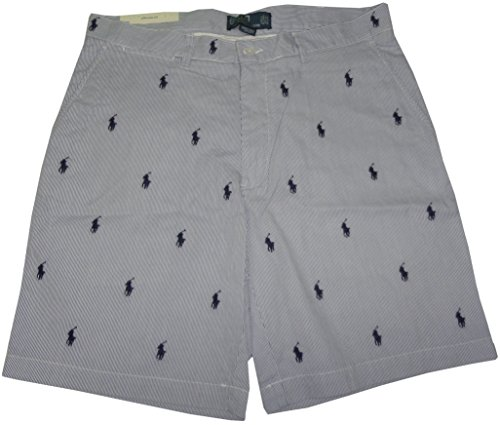 (Polo by Ralph Lauren Mens All Over Pony Prospect Shorts Blue/White (38))