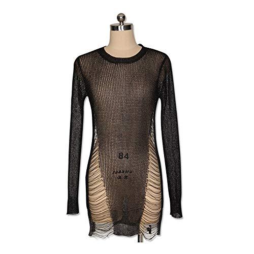 Dorato Nero Shuchangle Vestito Maglia Abito Tagliuzzato Trapezio A Metallo Maglione In qpwFqxvBz
