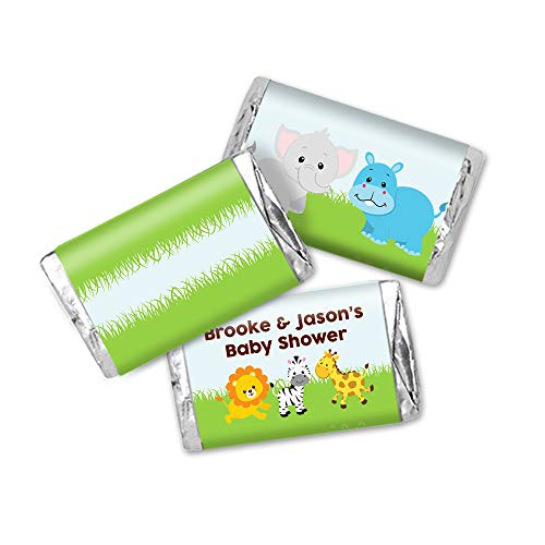 Zoo Babies Miniatures - Jungle Zoo Baby Shower Stickers, Miniatures Candy Bar Wrapper Labels, 54 Total