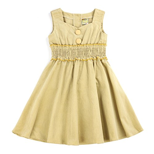 MARIA ELENA - Toddlers and Girls Stylish Vintage Classy Audrey Sweetheart Collar Dress in Light Khaki Fine Wale Corduroy 6
