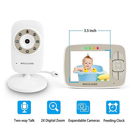 "Baby Monitor -Video Baby Monitor with 3.5"" LCD Screen, Digital Camera, Infrared Night Vision, Two-Way Talk Back, Lullabies, Temperature Monitoring, Long Range Baby Monitors with Camera and Audio"