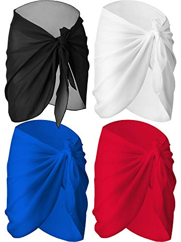 (4 Pieces Women Chiffon Short Sarongs Cover Ups Beach Swimsuit Wrap Skirt, 4 Colors(Black, White, Blue and Red))