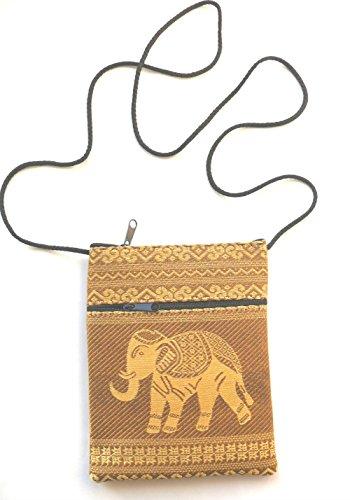Elefante passaporto borsa a tracolla–oro con 2tasche