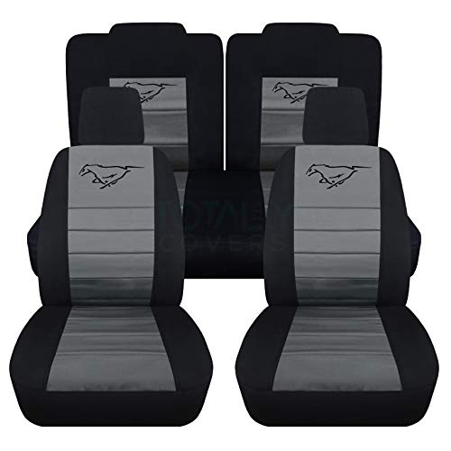 Totally Covers Fits 2005-2010 Ford Mustang Seat Covers w Pony: Black & Charcoal - Full Set (23 Colors) Coupe/Convertible V6/GT Solid/Split Bench 50/50 5th Gen 2006 2007 2008 2009