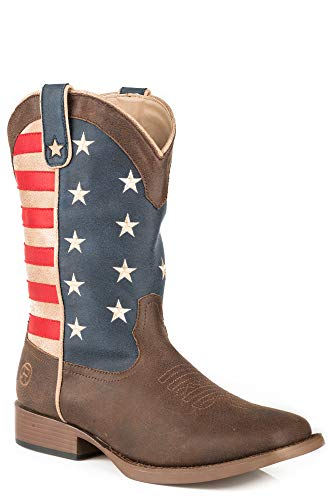 ROPER Women's American Patriot Stars and Stripes Cowgirl Boot Square Toe Brown 9 M
