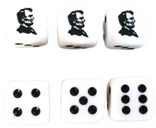 Custom & Unique {Standard Medium 16mm} 6 Ct Pack Set of 6 Sided [D6] Square Cube Shape Playing & Game Dice Made of Plastic w/ Abraham Lincoln Face & Pips - Face Glasses What Square A For Shape