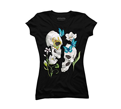 Flower and butterfly and skull Juniors' Small Black Graphic T Shirt