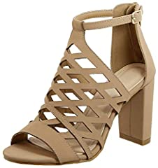 These hot, new, caged gladiator sandals pack a mean punch--with the comfort of a chunky heel and easy slip on style, you are going to be happy wearing these every day. Choose your favorite faux leather color with women's sizes as shown.  Quic...