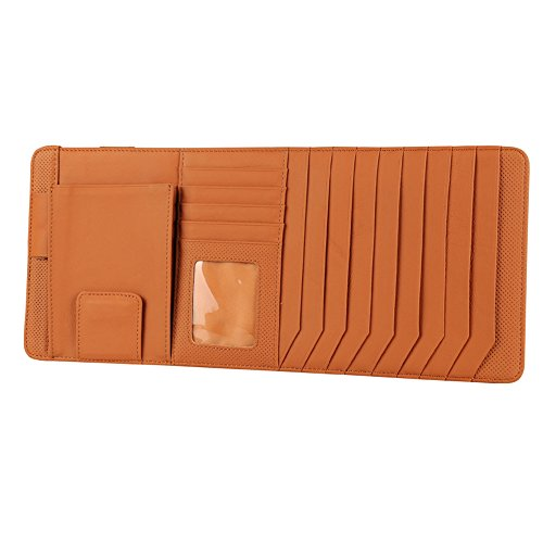 Tofern Multifunctional Strong Storage Genuine Leather Velcro Strap Pinhole Car CD Holder Auto Accessories - brown (Pinhole Pen)