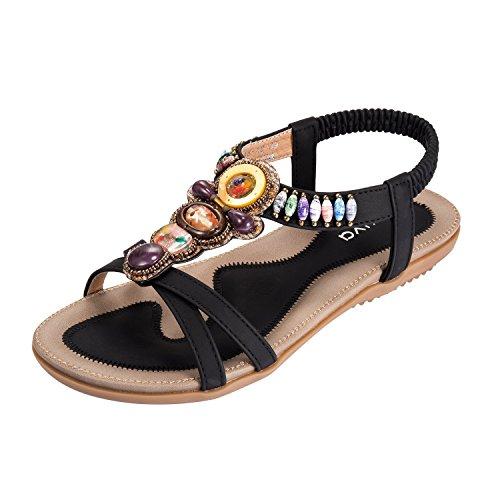 Kootk Mujeres Sandalias Open Toe Zapatos Bohemia Verano Playa Zapatos Plano Talón Elástico Correa EN T Sandalias Negro