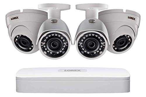 Lorex Weatherproof Indoor/Outdoor Home Surveillance Security System, 2 4MP Bullet Cameras w/Long Range Color Night Vision & 2 Swivel Dome Cameras - Incl 8 Channel 4K DVR w/ 2 TB Hard Drive