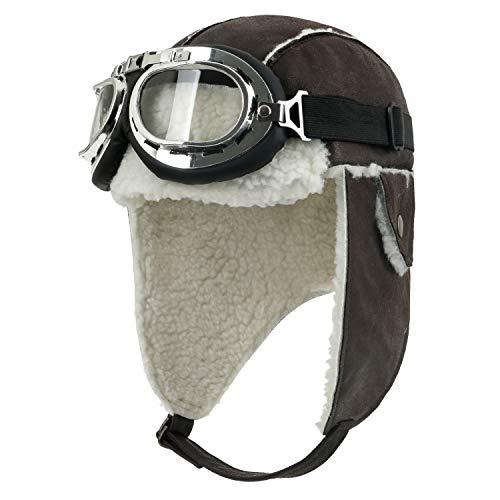 ililily Aviator Hat Winter Snowboard Fur Ear Flaps Trooper Trapper Pilot Goggles, Dark Brown/White for $<!--$35.99-->