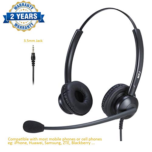 Cell Phone Headset with Microphone 3.5mm Headset Dual Ear Compatible with iPhone Samsung ZTE Huawei Xiaomi etc Smartphones