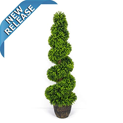 AMERIQUE Gorgeous 4 Feet Wide and Dense Boxwood Spiral Topiary Artificial Tree Silk Plant with UV Protection with Decorative Pot, Feel Real Technology, Super Quality, 4' Green