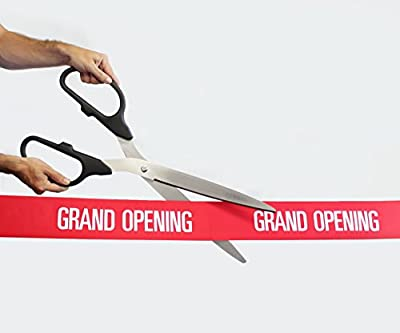 "25"" Black/Silver Ceremonial Ribbon Cutting Scissors with 5 Yards of 4"" Red Grand Opening Ribbon"