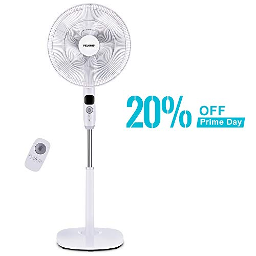 PELONIS Oscillating Pedestal, Turbo Silence Stand Fan 16', Powerful and Quiet with DC Motor, Speed, 12 Hour On/Off Timer, 3 Silent Modes, Remote Control, FS40-16CR, White