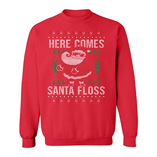 Price comparison product image Here Comes Santa Floss Funny Xmas Floss Dance Backpack Party Crewneck RED / XX-Large