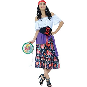 (L) Ladies Gypsy Fortune Teller Costume Carnival Circus Funfair Fancy Dress  Womens L: Amazon.co.uk: Clothing
