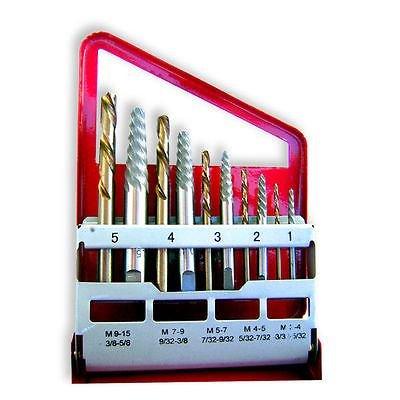 10pc Screw Extractor   Left Hand Cobalt Drill Bit Set Easy O