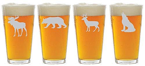 Wildlife Choice of Pilsner, Beer Mug, Pub, Wine Glass, Rocks, 1 each of a Moose, Bear, Wolf, Deer Etched