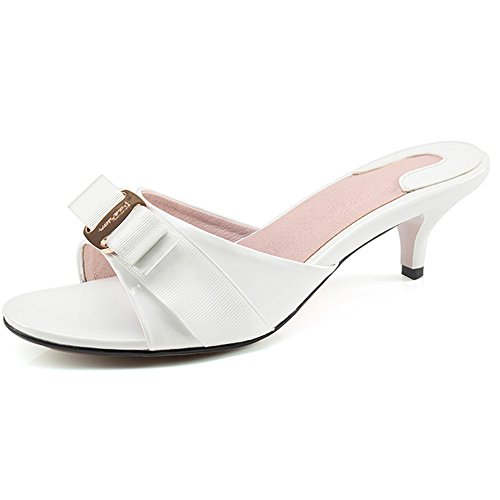 SUNROLAN SLL-LY-6063-bai-43 April Women's Slide Heels Stiletto Pump Sandal Peep Toe Bow Accent Slide Dress Heeled Sandals us10 ()