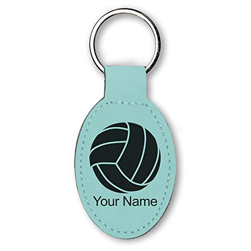 Oval Keychain, Volleyball Ball, Personalized Engraving Included (Teal) -