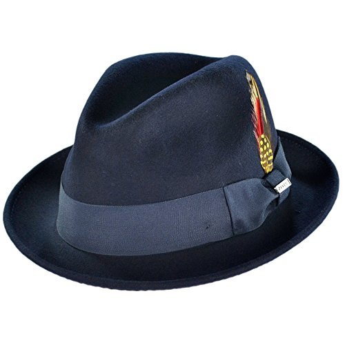 Stingy Brim Fedora Trilby (Jaxon Blues Trilby Crushable Fedora Hat (Medium, Navy))