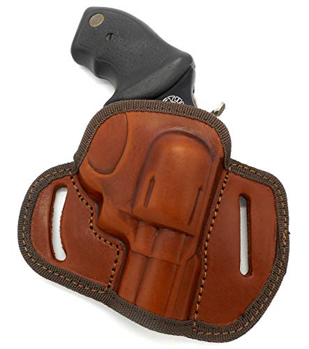 CEBECI ARMS Brown Leather Open Top RIGHT HAND Belt Holster for SMITH & WESSON S&W J-FRAME REVOLVER (1-7/8
