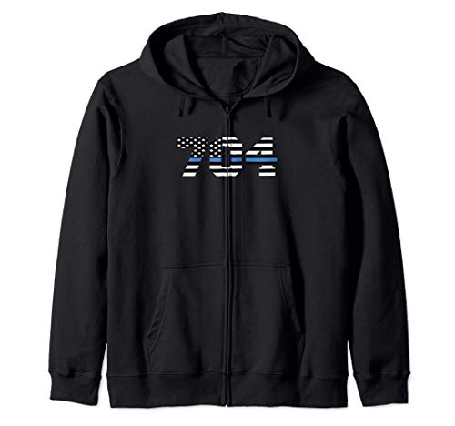 Charlotte NC Police Officer Graduation Gift LEO USA Flag 704 Zip Hoodie