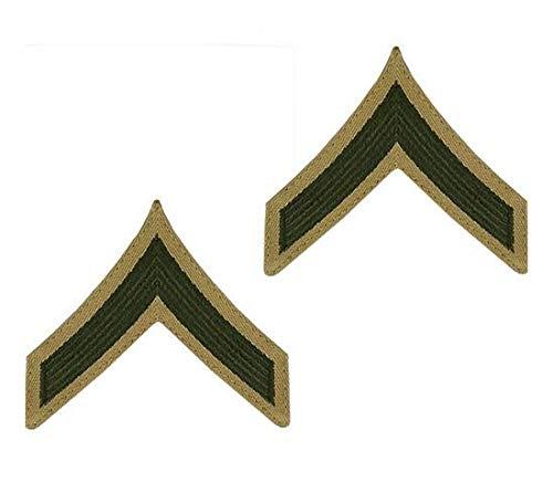 USMC Chevron Green on Khaki Enlisted Rank (E-2 PRIVATE FIRST CLASS, MALE)