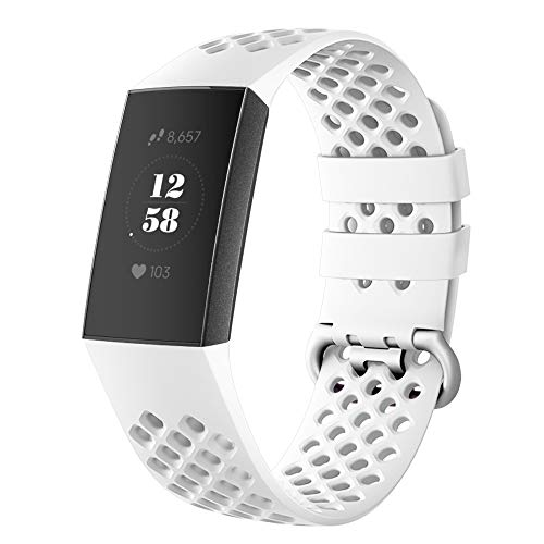 DEKER Sport Bands Compatible for Fitbit Charge 3 Bands Charge 3 SE Fitness Tracker Women Men, Breathable Holes Silicone Smart Watch Strap Small Large Accessories Wristbands (White, Small)