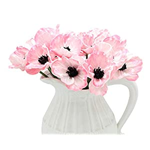 En Ge 10 Stems Mini Artificial Poppies Real Touch Fake Latex Flowers for Bridal Wedding Bouquet Home Kitchen Desktop Party Decor 4