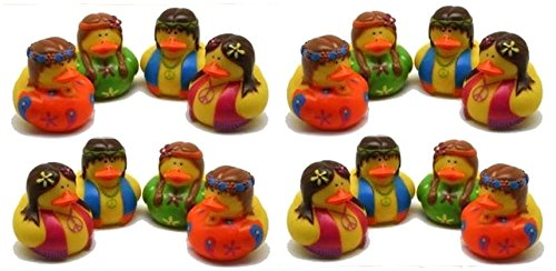 Pack Of 16 Nostalgic Hippie Rubber Ducks 50's 60's - Party Favor Duckies - Gifts