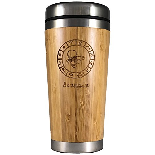The Zodiac Mug   Premium insulated travel mug for Coffee & Tea   Natural bamboo and Stainless Steel   15.2 oz.(450ml)   Spill Proof Lid   Slip resilient base   Wooden engraving (Scorpio) (Mug Zodiac)