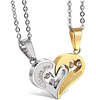 776f3afca0e53 Yutii Our Heart Two Piece 316 Stainless Steel Couple Pendant ...