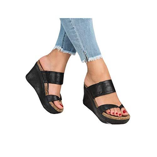(Womens Platform Slip On Cork Wedge Slide Sandals Mules Thong Slingback Summer Shoes Black)