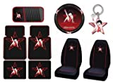 Betty Boop Star 9pc Combo Set Front & Rear Floor Mats, Seat Covers, Steering Wheel Cover, CD Visor, Keychain Plus Bonus License Plate Frame