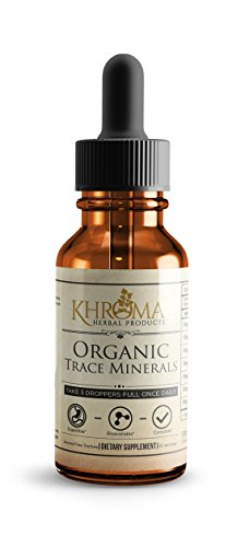 Organic Trace Minerals - by Khroma Herbs - 2 oz Liquid Plant-Based Trace Mineral Blend - Designed for Maximum Absorption - 30 ()