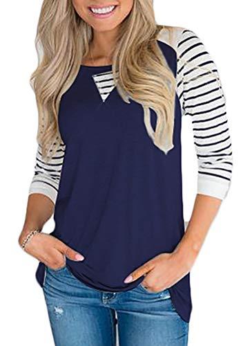 Chvity Women Casual Long Sleeve Raglan Sports Striped Tops T Shirt (Navy Blue, M)