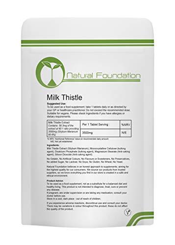 Milk Thistle 3500mg Tablets High Strength Silymarin | Natural Foundation Supplements (3 Tablet Sample)