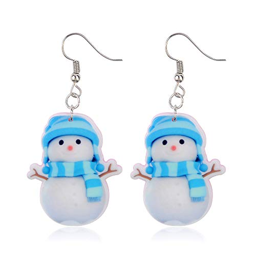 Blue Hat and Scarf Snowman Earrings