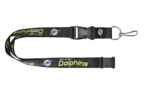 aminco NFL Miami Dolphins Black Wordmark Lanyard, Black