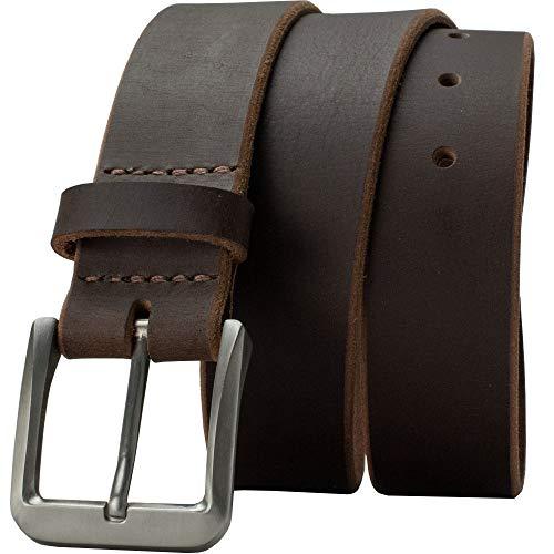 Roan Mountain Titanium Belt - Nickel Smart - Brown Genuine Full Grain Leather Belt with Nickel Free Titanium Buckle - 38