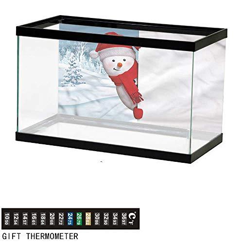 (Suchashome Fish Tank Backdrop Snowman,Funny Peaceful Woods,Aquarium Background,24