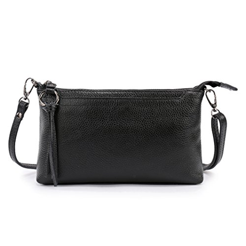 - Lanvera Women's Crossbody Shoulder Bag Genuine Leather Zipper Clutch Purse Wallet Handbag (Black)
